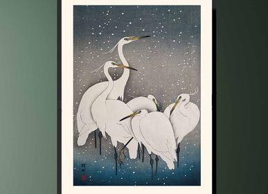 Affiches - Estampe japonaise oiseaux Aigrettes garzettes de Ohara Koson prêt-à-encadrer 30x40 cm - BILLPOSTERS