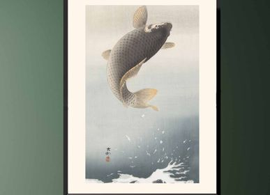 Poster - Japanese print fish Leaping Carp from Ohara Koson ready to be framed 30x40 cm - BILLPOSTERS