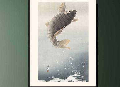 Affiches - Estampe japonaise poisson Carpe sautant de Ohara Koson prêt-à-encadrer 30x40 cm - BILLPOSTERS