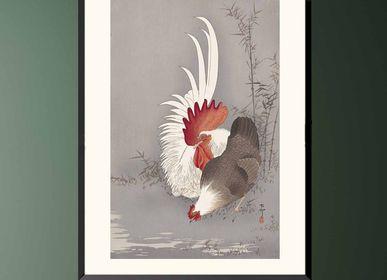 Affiches - Estampe japonaise oiseaux Coq et poule de Ohara Koson prêt-à-encadrer 30x40 cm - BILLPOSTERS