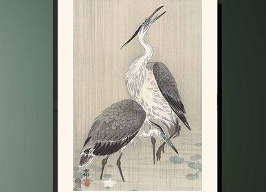 Affiches - Estampe japonaise oiseaux Hérons cendrés de Ohara Koson prêt-à-encadrer 30x40 cm - BILLPOSTERS