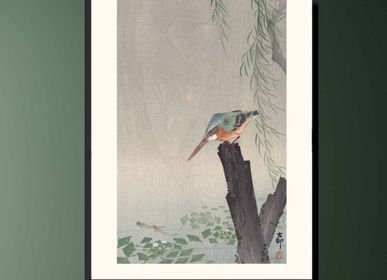 Poster - Japanese print birds Kingfisher from Ohara Koson ready to be framed 30x40 cm - BILLPOSTERS
