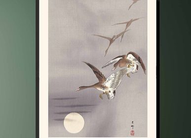 Poster - Japanes print birds White-fronted Geese from Ohara Koson ready to be framed 30x40 cm - BILLPOSTERS