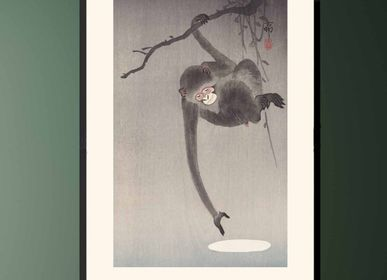 Poster - Japanese print Monkey from Ohara Koson ready to be framed 30x40 cm - BILLPOSTERS