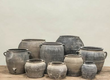 Pottery - Old rustic unglazed grey pots - THE SILK ROAD COLLECTION