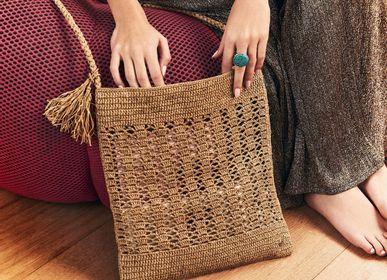 Bags and totes - JANE raffia shoulder bag: flat bag and pompoms - SANABAY PARIS