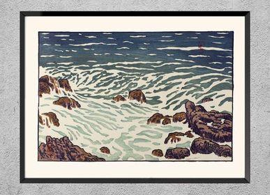 Affiches - Estampe Bretagne Petite vague montante de Henri Rivière prêt-à-encadrer 30x40 cm - BILLPOSTERS