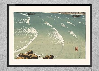 Poster - Brittany print Wave, rising sea from Henri Rivière ready to be framed 30x40 cm - BILLPOSTERS