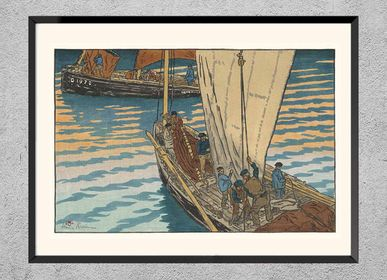 Poster - Brittany print Departure of sardine fishers from Tréboul - BILLPOSTERS