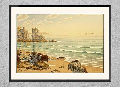 Poster - Brittany print The Beach from Henri Rivière ready to be framed 30x40 cm - BILLPOSTERS
