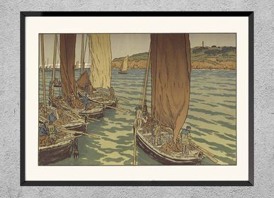 Poster - Brittany print Boats leaving Tréboul from Henri Rivière ready to be framed 30x40 cm - BILLPOSTERS
