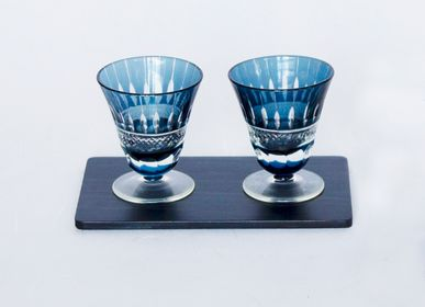 Glass - Kiriko High Glass with Indigo cedar plate Set  - AOLA