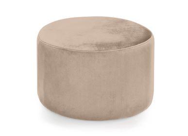 Benches - Beige velvet pouf Ø55x35 cm MU21015 - ANDREA HOUSE