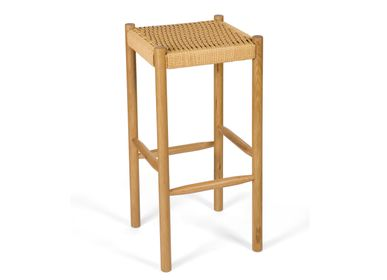 Benches - Oak wood and paper rope stool 35x35x75 cm MU21012 - ANDREA HOUSE