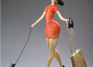 Sculptures, statuettes et miniatures - Parisienne III orange - ABRAHAM SCULPTEUR PARIS