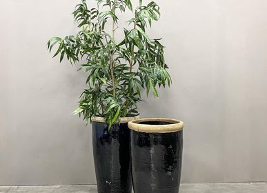 Pottery - Extra Large Black Glazed Planter - THE SILK ROAD COLLECTION