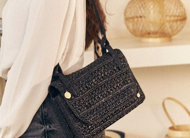 Bags and totes - Shoulder bag in black raffia - SANABAY PARIS