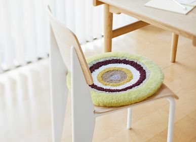 Design carpets - POCO40_LUNA design rug seat cushion yellow 100%wool Φ40cm - ZAPPETO