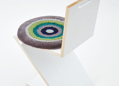Design carpets - POCO40_LEA design rug seat cushion yellow green 100%wool Φ40cm - ZAPPETO