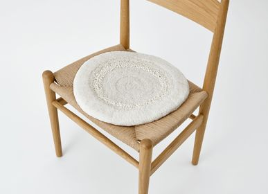 Design carpets - POCO40_SNOWY design rug seat cushion white 100%wool Φ40cm - ZAPPETO