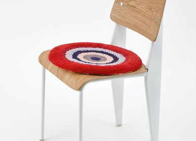 Design carpets - POCO40_BERRY  design rug seat cushion red 100%wool Φ40cm - ZAPPETO
