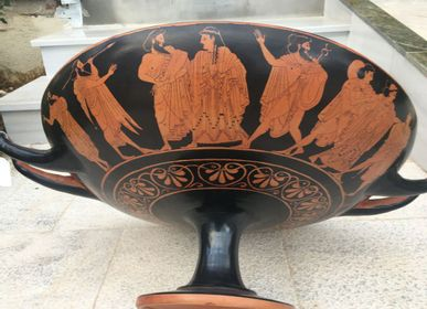 Pottery - Kylix, Pottery the God Dionysus Drinking Cup, made with the ancient technique, the lost wax method - SILO ART FACTORY