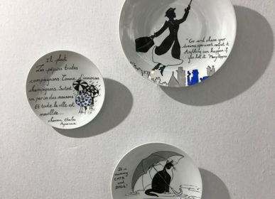 Unique pieces - Wall installation of illustrated plates RAIN - VERONIQUE JOLY-CORBIN