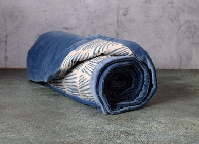 Plaids - VELOURAMA - Boutis Bleu Palmes 110 x 220 cm - CONSTELLE HOME