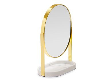 Bathroom equipment - Marble effect and gold metal stand mirror BA21050 - ANDREA HOUSE