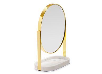 Meubles pour salle de bain - Miroir effet marbre et métal doré BA21050 - ANDREA HOUSE