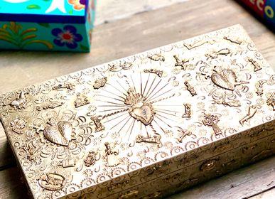 Coffrets et boîtes - Ex Voto Coffre décorative avec trésor incrusté en bois et métal - PINK PAMPAS