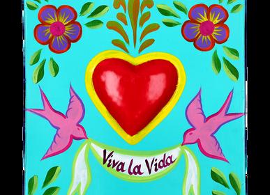 Coffrets et boîtes - Boîte décorative en métal peint à la main «VIVA LA VIDA» - PINK PAMPAS