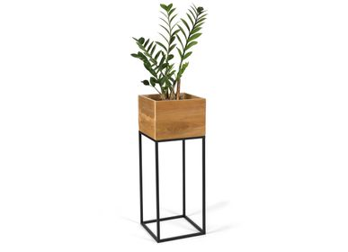 Decorative objects - Recycled wood planter 28x28x75 cm AX21018 - ANDREA HOUSE