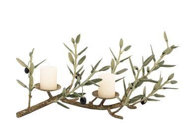 Pièces uniques - Bougeoir 2 bougies 7 rameaux collection ARLES - L'OLIVIER FORGÉ