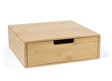 Accessoires thé et café - Boîte en bois de bambou, 4 compartiments 30x31x10 cm CC21000 - ANDREA HOUSE