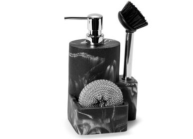 Kitchen utensils - Black marble effect 3 in 1 polyresin soap dispenser 12.5x12x22 cm CC21007 - ANDREA HOUSE