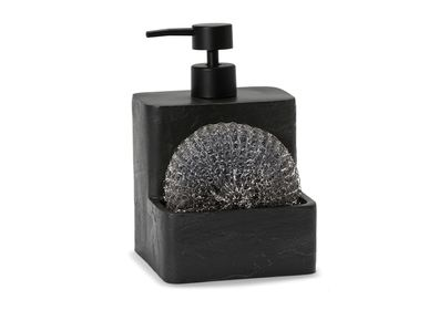 Kitchen utensils - Slate effect polyresin soap dispenser w/scrubber 11x11x17.5 cm CC21052 - ANDREA HOUSE
