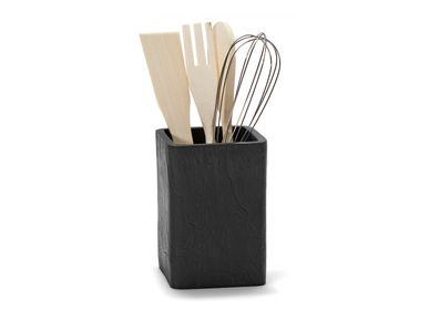 Kitchen utensils - Slate effect polyresin utensil holder 9.5x9.5x23 cmCC21054 - ANDREA HOUSE
