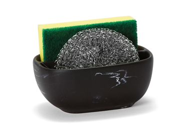 Kitchen utensils - Black marble effect polyresin sponge/scrubber holder 12.5x9.5x6 cm CC21066 - ANDREA HOUSE