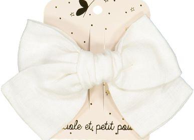 Hair accessories - White linen hairclip - LUCIOLE ET PETIT POIS