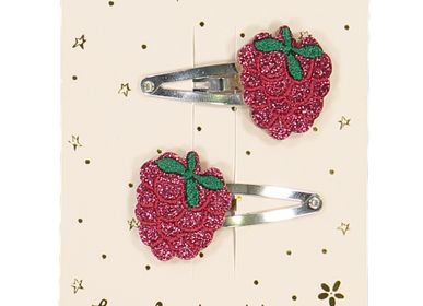Hair accessories - Raspberry hairclips - LUCIOLE ET PETIT POIS