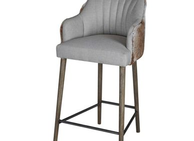 Chairs - Courchevel Bar Chair in Cotton and Goat Fur - JOE SAYEGH PARIS