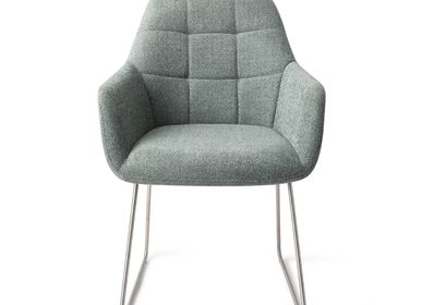 Chairs - Noto Dining Chair - Real Teal, Slide Steel - JESPER HOME