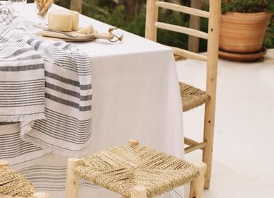 Objets de décoration - Plaid - Linge de maison lavé - Rayures noires/blanches - LO DE MANUELA