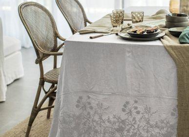 Linge de table textile - Nappe à broder - Lin pur lavé - Dessin de broderie Lavandula - LO DE MANUELA