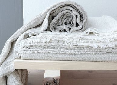 Objets de décoration - Tuisku reversible Finnish lamb wool /natural linen blanket - BONDEN
