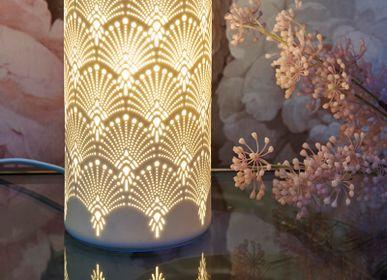 Lampes à poser - Lampe porcelaine cylindrique Art Deco - SOCADIS