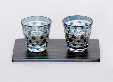 Glass - Kiriko Low Glass with Indigo cedar plate Set - AOLA