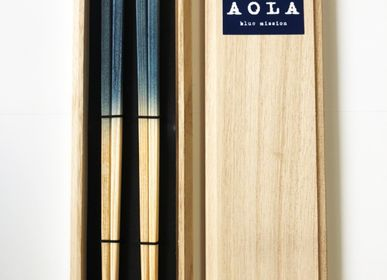 Cutlery set - Indigo Cedar wood  Chopsticks Pair set with Tung box - AOLA
