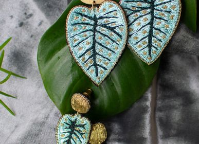 Jewelry - Embroidered Leaves earrings and bracelets - ZENZA